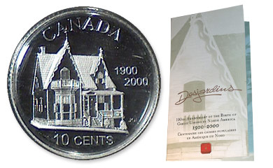 10-cent Desjardins coin commemorating the Desjardins Mouvement's 100th anniversary