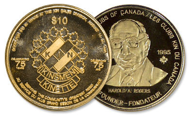 Coin honouring Al Rogers, founder of the prestigious Kinsmen Club (cystic fibrosis)