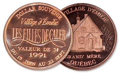 "Coin for the Village d'Émilie, a thematic outcome from the TV series ""Les Filles de Caleb"" (6,000 trade dollars)"