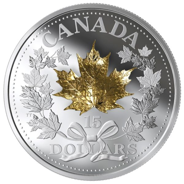 2019 $15 FINE SILVER COIN - GOLDEN MAPLE LEAF