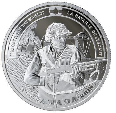 18795 2019 /'The Battle of the Scheldt-Battlefront/' Prf $20 Fine Silver 1oz.Coin